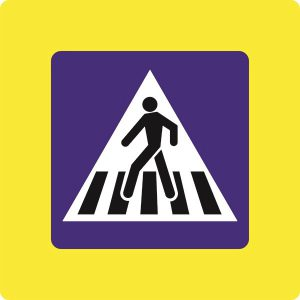 Ceļa zīme - Nr. 535F Gājēju pāreja (ar fluorescējošu apmali)