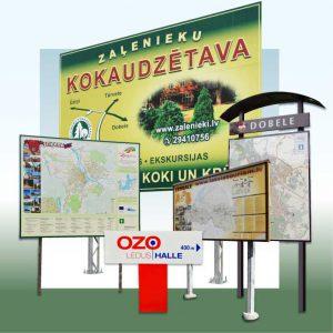 Informācijas norādes, stendi izkārtnes, kartes, plāksnes u.c.
